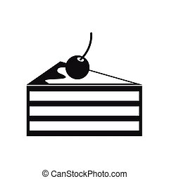 Cake with cherries icon, simple style