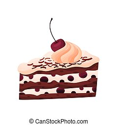 Cake with cherry and custard on white background.