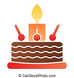 Cake with cherry flat icon. Sweets color icons in trendy flat style. Birthday cake gradient style design, designed for web and app. Eps 10.