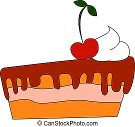 Cake with cherry, illustration, vector on white background