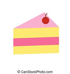 cake with cherry on top flat simple illustration