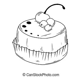Cake with cherry. Sketch of cupcake isolated on white background.