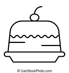 Cake with cherry thin line icon. Dessert vector illustration isolated on white. Sweet outline style design, designed for web and app. Eps 10.