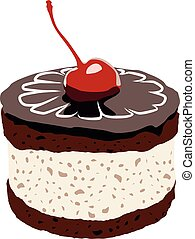 cake with cherry vector illustration no background
