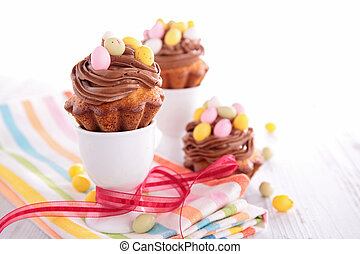 cake with chocolate and easter egg