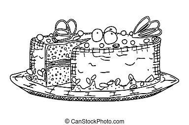 cake with chocolate doodle drawing on a white
