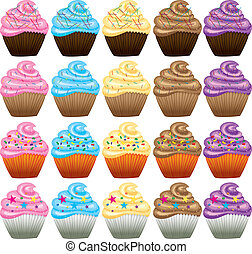 Cake with cream on a white background. Vector set. - Cake...