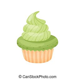 Cake with cream. Vector illustration on white background.