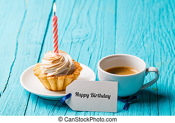 Cake with cup , blank card