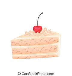Cake with custard and cherry on white background.