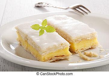 cake with custard and icing sugar - custard cake with mint...