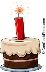 Cake with dynamite - Cake on a white background, vector ...