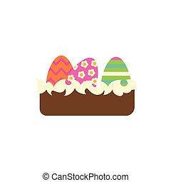 cake with easter eggs painted flat style