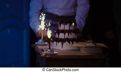 Cake with fireworks - Celebration cake with fireworks