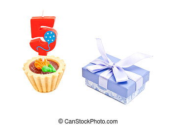 cake with five years birthday candle and gift on white