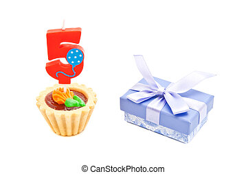 cake with five years birthday candle and gift