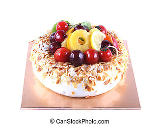 Cake with fruit topping - isolated on white