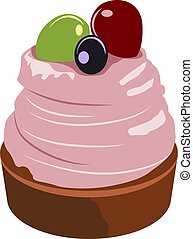 Cake with fruits, illustration, vector on white background.