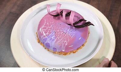 Cake with glaze on a plate
