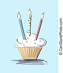 Cake with Illuminating Candles Vector Illustration