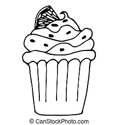 cake with lemon or orange, cupcake drawn in outline isolated on