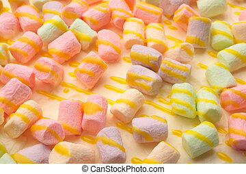 Cake with multicolored marshmallow, for backgrounds or textures