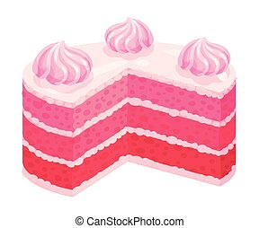 Cake with pink cream. Vector illustration on a white background.