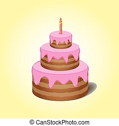 Cake with pink cream with candle on yellow background
