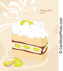 Cake with pistachios on the decorative background. Vector...