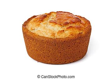 Cake with raisin isolated on white background