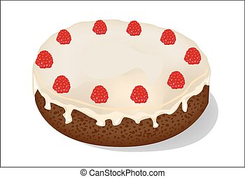 cake with raspberries on a white background