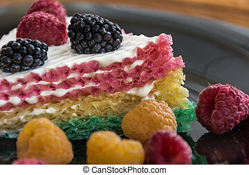 Cake with raspberry and blueberry