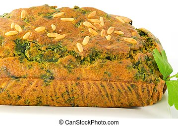 cake with spinach and pine nuts