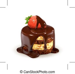 Cake with strawberry in chocolate