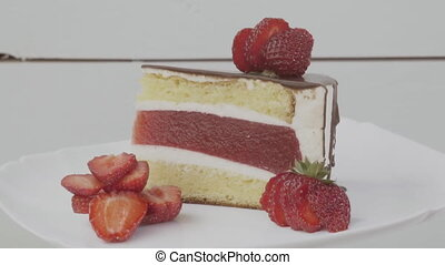 cake with strawberry jelly