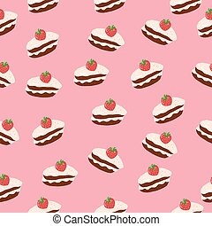 cake with strawberry seamless pattern. hand drawn vector. food, sweets, dessert, textile, fabric, wallpaper, background, wrapping paper.