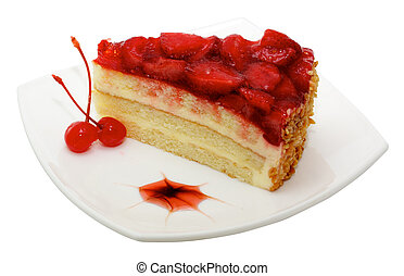 cake with strawberry topping