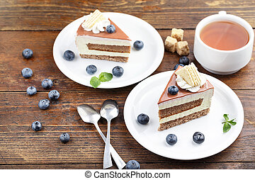 cake with tea on the table