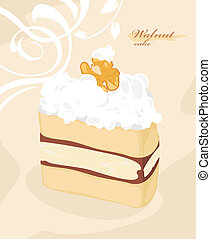 Cake with walnut on the decorative background. Vector...