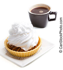 Cake with whipped cream and coffee - Cake with whipped cream...