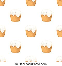 Cake with white fondant. Easter single icon in cartoon style vector symbol stock illustration.