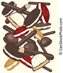 cakes - an illustration of a variety of cake and biscuit...
