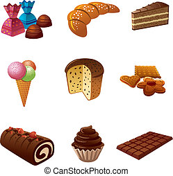 cakes and candy icon set