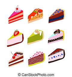 Cakes and cheesecakes vector cartoon icon set.