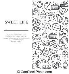 Cakes and cookies theme horizontal banner. Pictograms of...