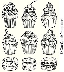 Cakes and cupcakes baked chocolate dessert, bakery set, black and white