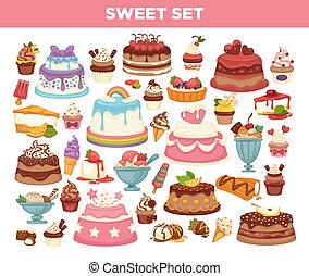 Cakes and cupcakes pastry desserts vector set