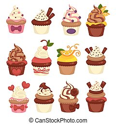 Cakes and cupcakes pastry or bakery vector template icons