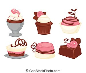 Cakes and cupcakes pastry sweet desserts vector icons set -...