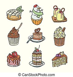 Cakes and cupcakes vector piece of cheesecake for happy birthday party baked chocolate cake and dessert snowman from bakery set illustration isolated on white background